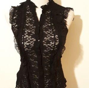 Tops - Black sheer ruffled lace top